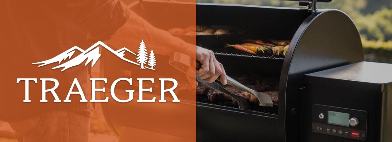 Traeger logo with person grilling in background