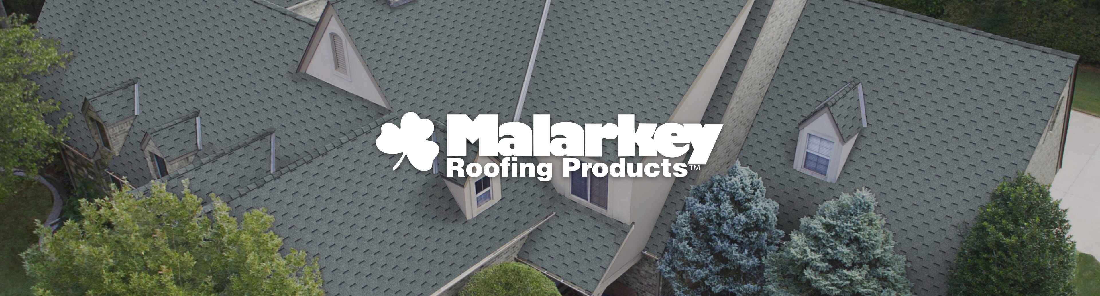 Malarkey Roofing Products logo with aerial view of a house with grey shingles