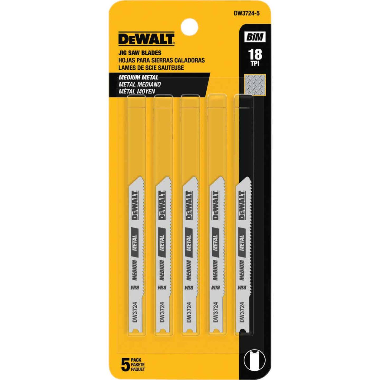 DeWalt U-Shank 3 In. x 18 TPI High Carbon Steel Jig Saw Blade, Medium Metal (5-Pack) Image 1