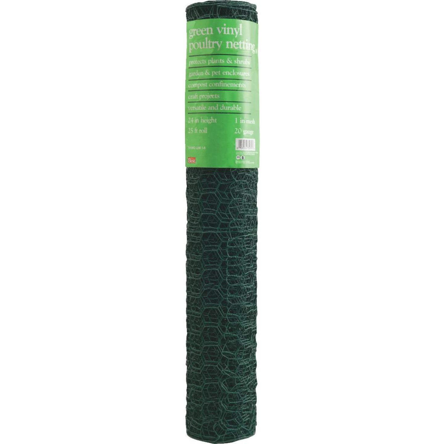 1 In. x 24 In. H. x 25 Ft. L. Green Vinyl-Coated Poultry Netting Image 2